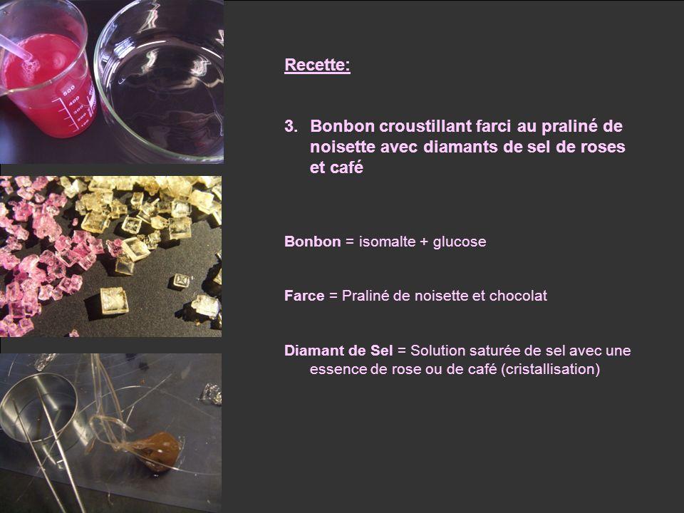 Recette: Bonbon croustillant farci au praliné de noisette avec diamants de sel de roses et café. Bonbon = isomalte + glucose.