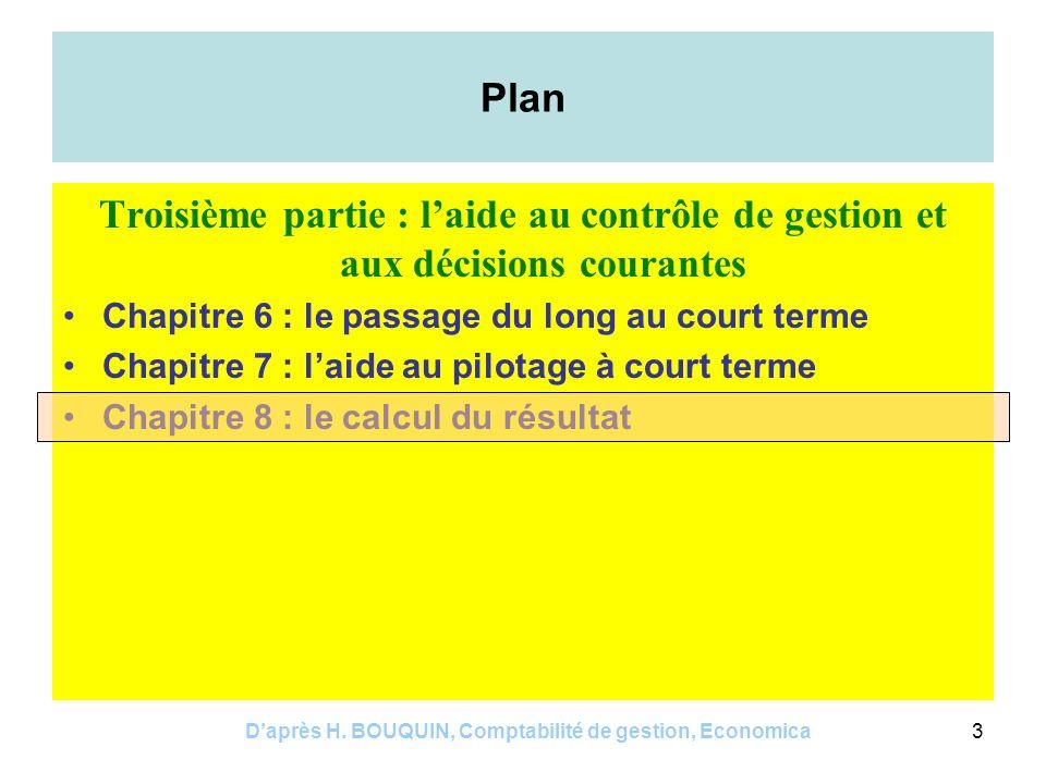 D'après H. BOUQUIN, Comptabilité de gestion, Economica