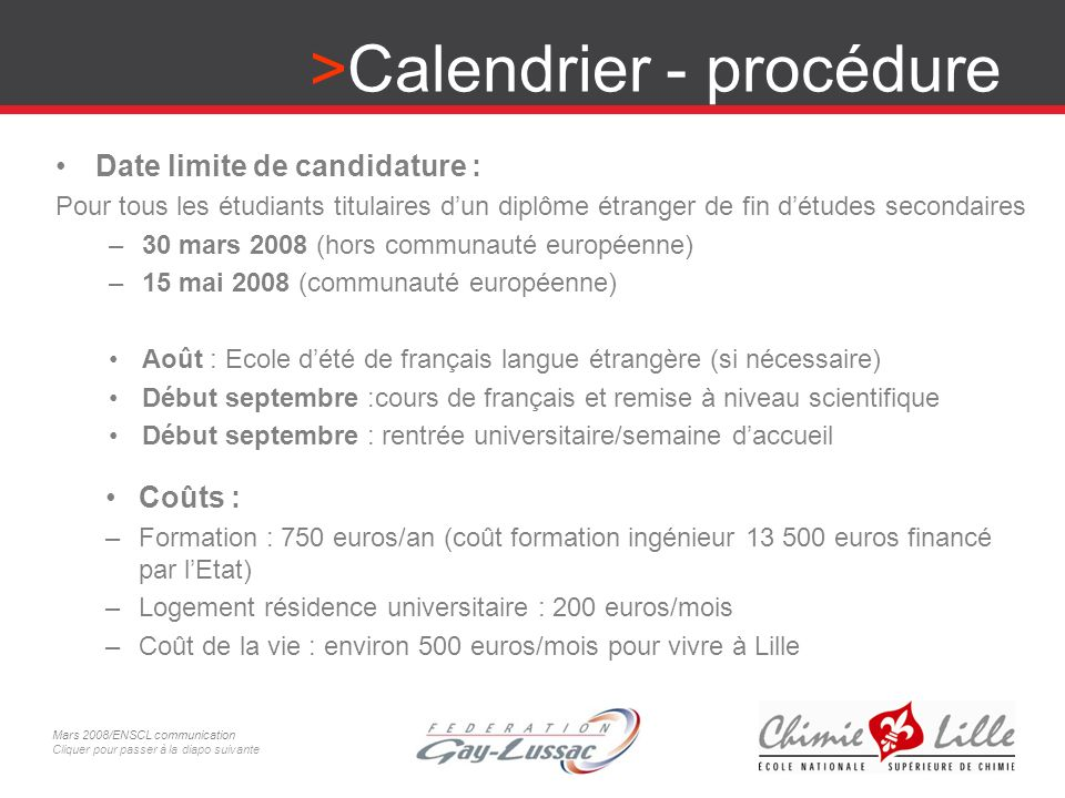 Calendrier - procédure