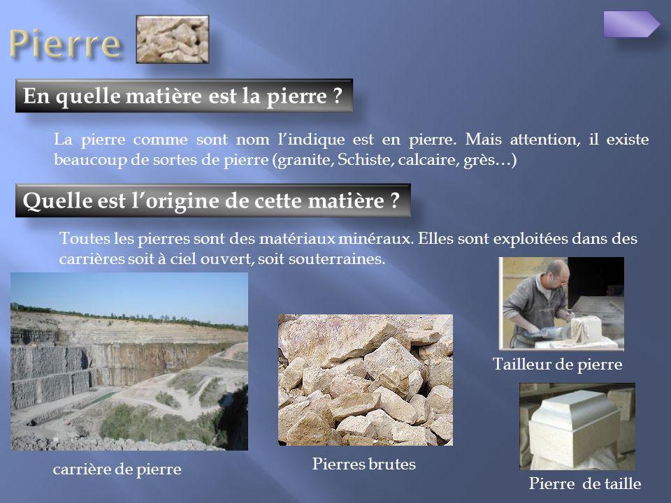 Pierre En quelle matière est la pierre