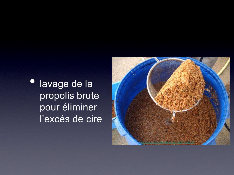 lavage de la propolis brute pour éliminer l'excés de cire