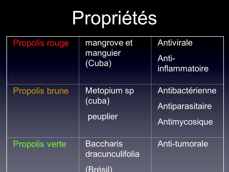 Propriétés Propolis rouge Propolis brune Propolis verte