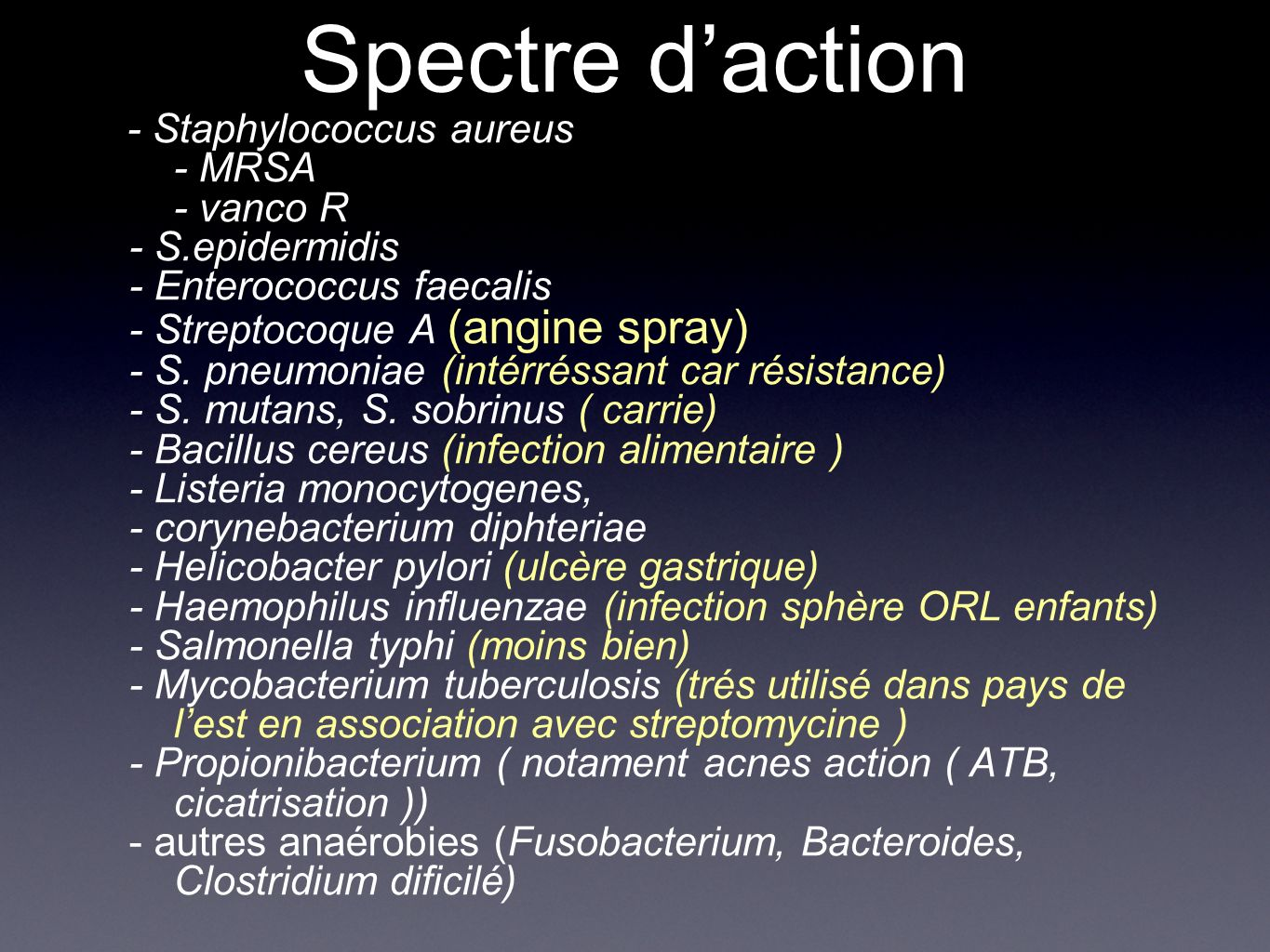 Spectre d'action - MRSA - vanco R - S.epidermidis