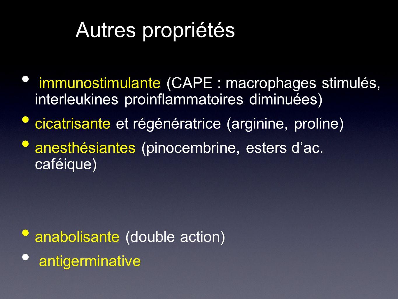 Autres propriétés immunostimulante (CAPE : macrophages stimulés, interleukines proinflammatoires diminuées)