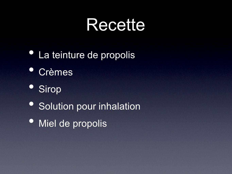 Recette La teinture de propolis Crèmes Sirop Solution pour inhalation