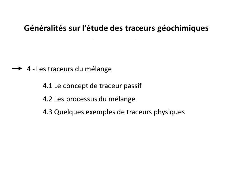Généralités sur l'étude des traceurs géochimiques