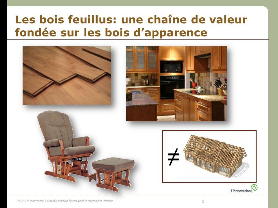 Les bois feuillus: une chaîne de valeur fondée sur les bois d'apparence