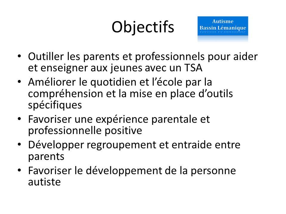 Objectifs Outiller les parents et professionnels pour aider et enseigner aux jeunes avec un TSA.