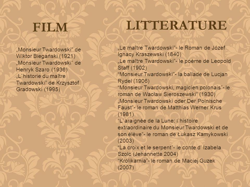 """LITTERATURE FILM. """"Le maître Twardowski - le Roman de Józef Ignacy Kraszewski (1840) """"Le maître Twardowski - le poème de Leopold Staff (1902)"""