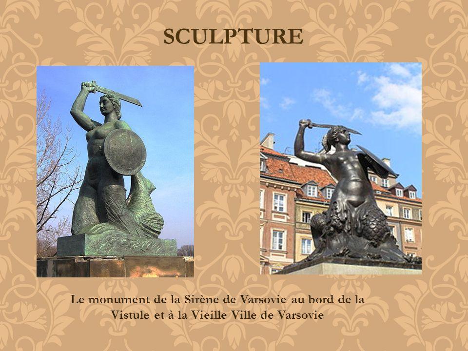 SCULPTURE Le monument de la Sirène de Varsovie au bord de la Vistule et à la Vieille Ville de Varsovie.