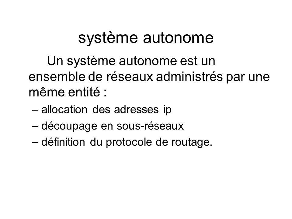 système autonome Un système autonome est un ensemble de réseaux administrés par une même entité : allocation des adresses ip.
