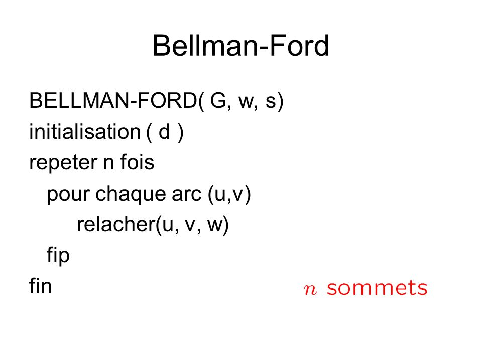 Bellman-Ford BELLMAN-FORD( G, w, s) initialisation ( d )