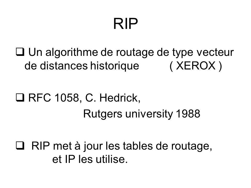 RIP Un algorithme de routage de type vecteur de distances historique ( XEROX ) RFC 1058, C. Hedrick,
