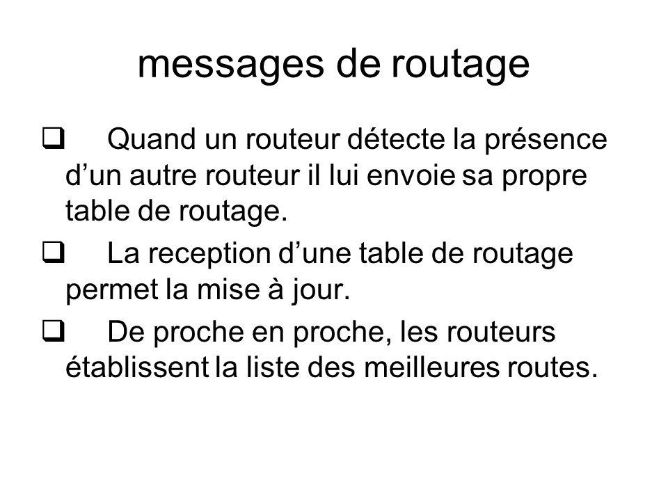 messages de routage Quand un routeur détecte la présence d'un autre routeur il lui envoie sa propre table de routage.