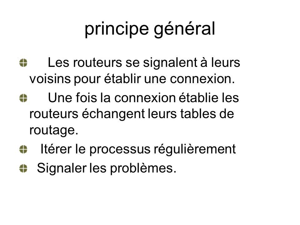 principe général Les routeurs se signalent à leurs voisins pour établir une connexion.