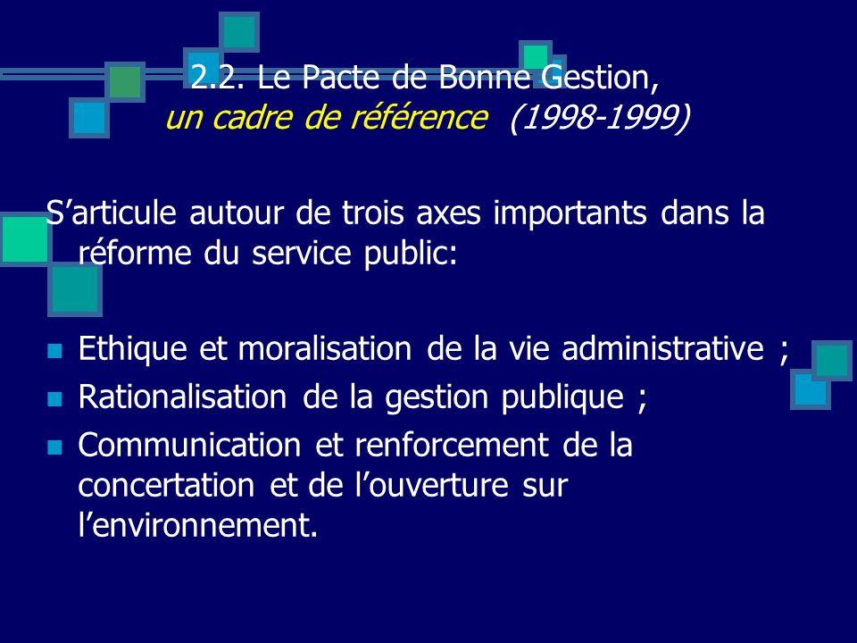 2.2. Le Pacte de Bonne Gestion, un cadre de référence (1998-1999)