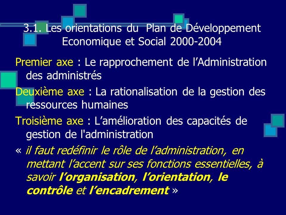 3.1. Les orientations du Plan de Développement Economique et Social 2000-2004