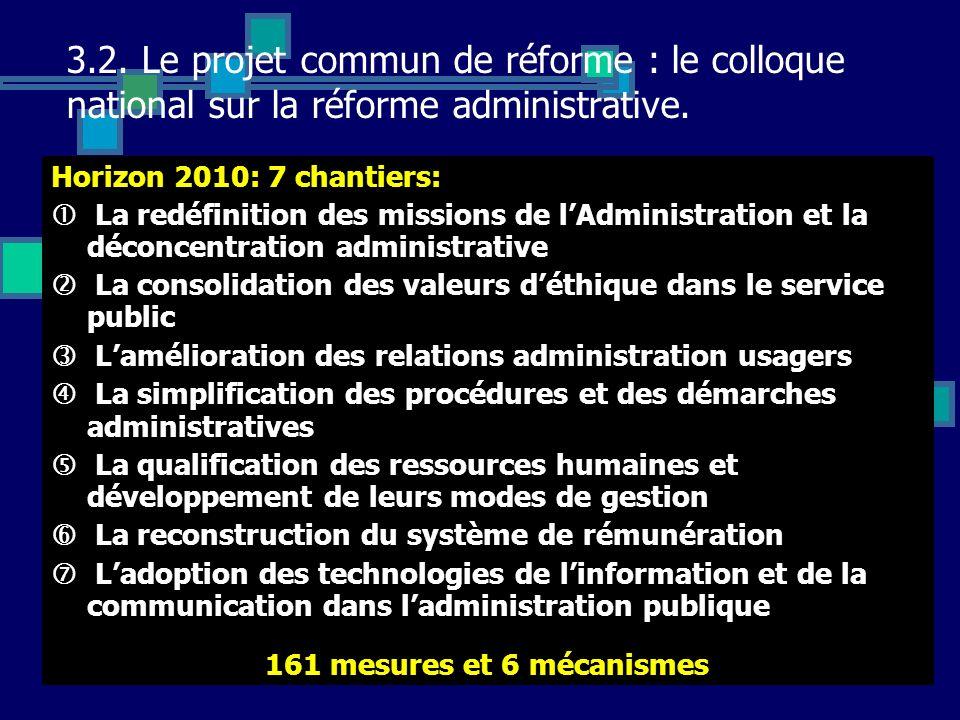 3.2. Le projet commun de réforme : le colloque national sur la réforme administrative.
