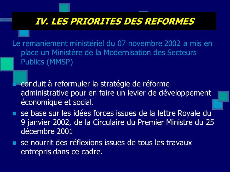 IV. LES PRIORITES DES REFORMES