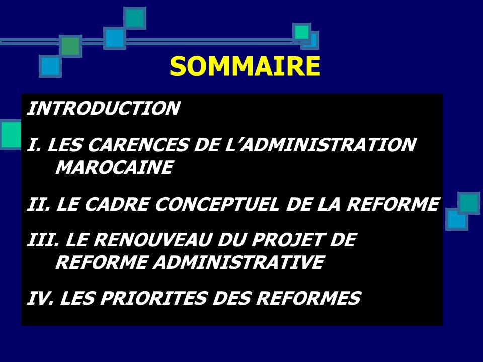 SOMMAIRE INTRODUCTION I. LES CARENCES DE L'ADMINISTRATION MAROCAINE