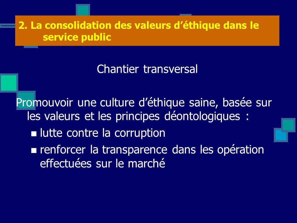 2. La consolidation des valeurs d'éthique dans le service public