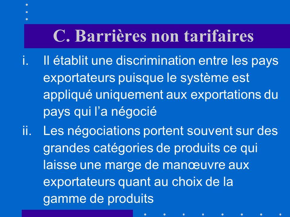C. Barrières non tarifaires