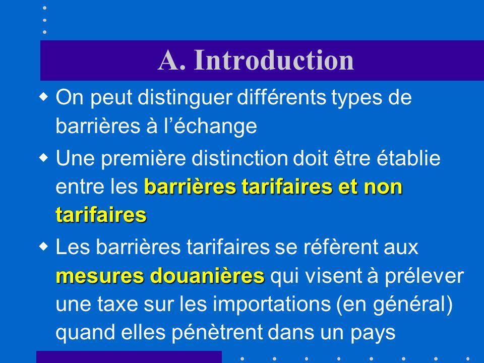 A. Introduction On peut distinguer différents types de barrières à l'échange.