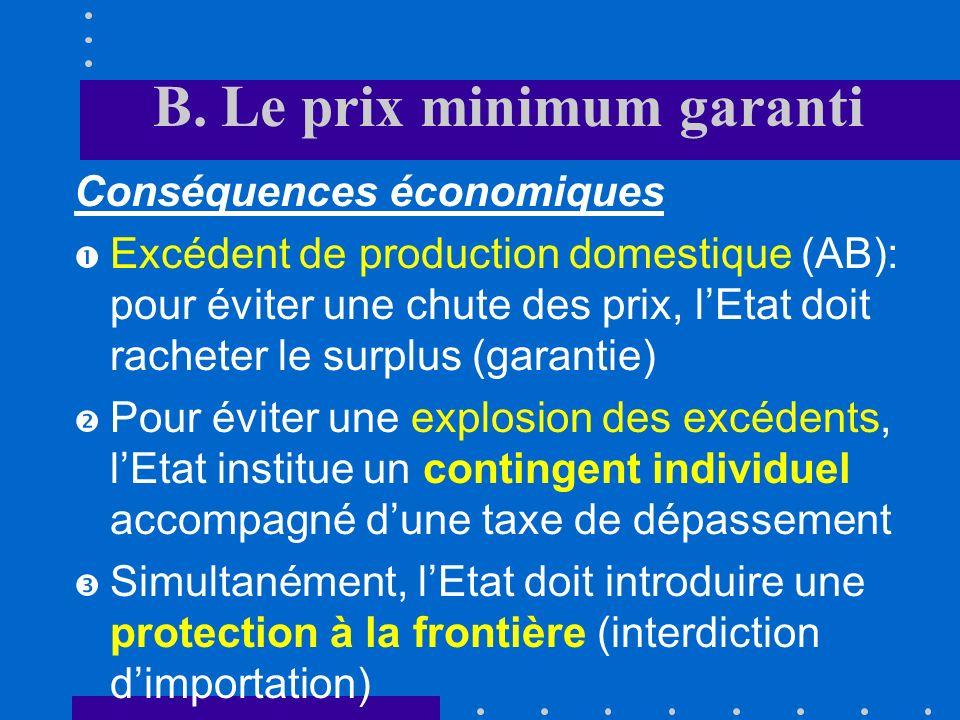 B. Le prix minimum garanti