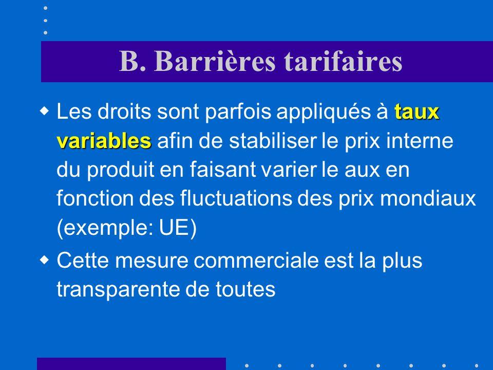 B. Barrières tarifaires