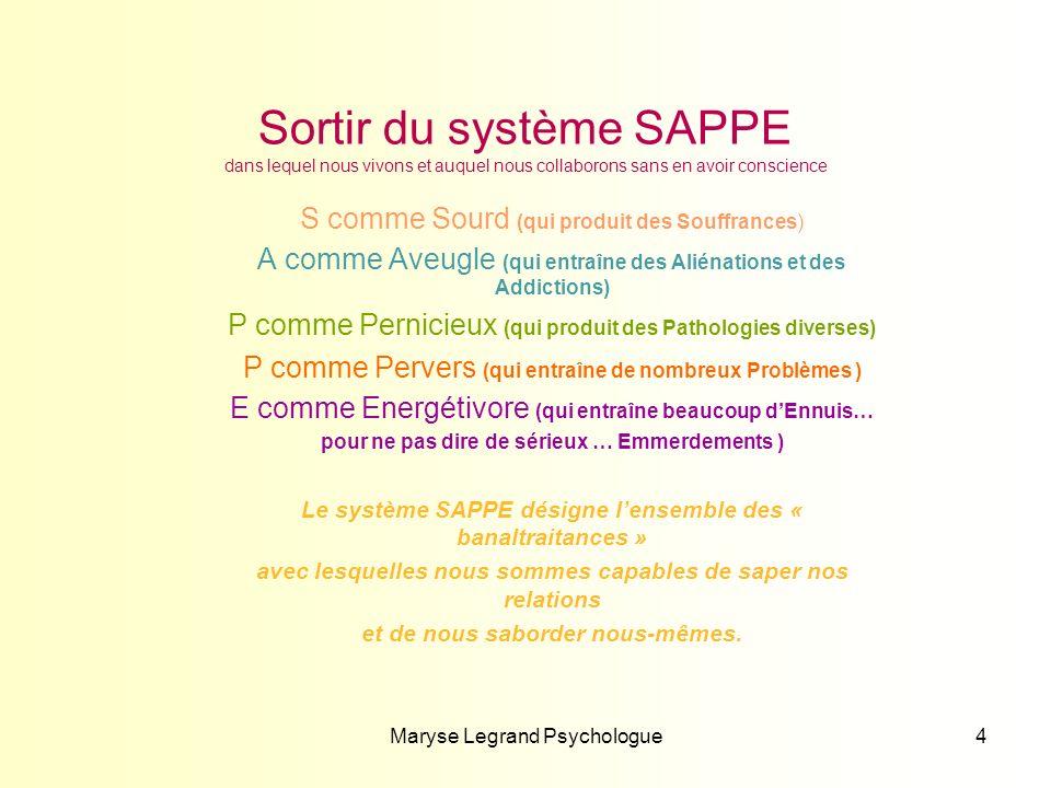 Sortir du système SAPPE dans lequel nous vivons et auquel nous collaborons sans en avoir conscience