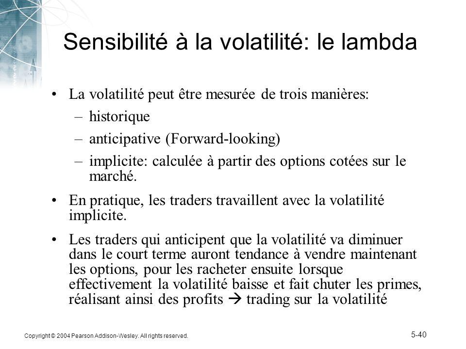 Sensibilité à la volatilité: le lambda