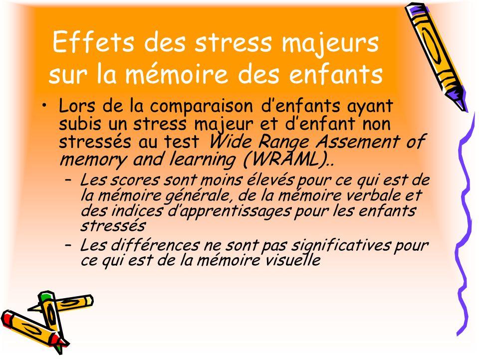 Effets des stress majeurs sur la mémoire des enfants