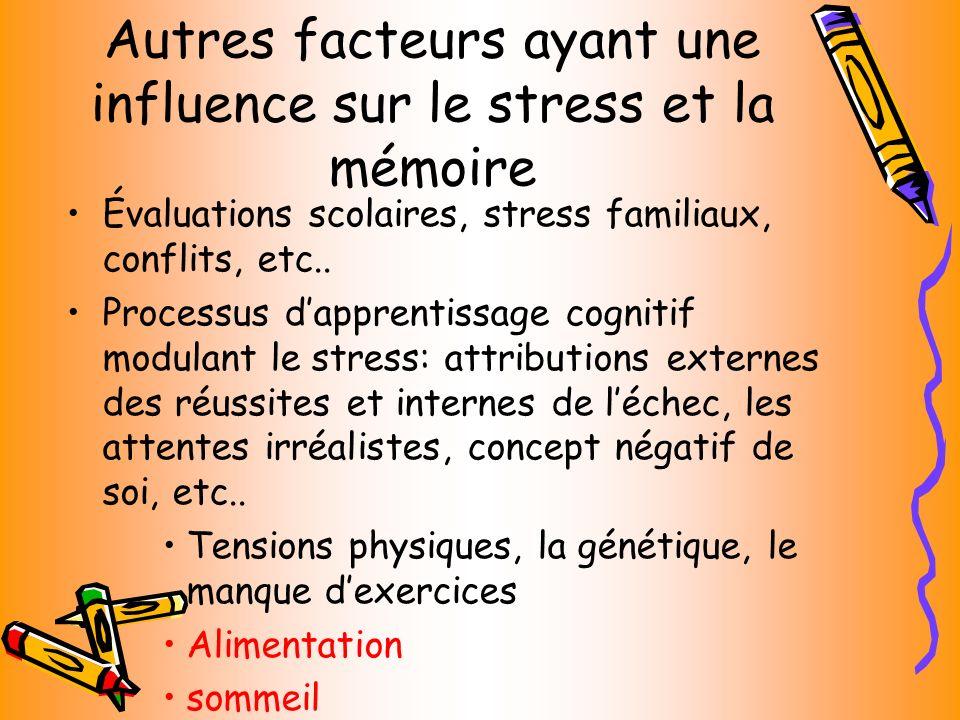 Autres facteurs ayant une influence sur le stress et la mémoire