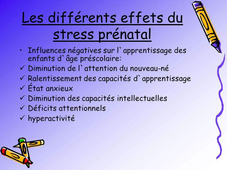 Les différents effets du stress prénatal