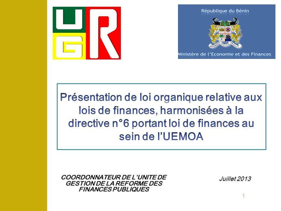 Présentation de loi organique relative aux lois de finances, harmonisées à la directive n°6 portant loi de finances au sein de l'UEMOA