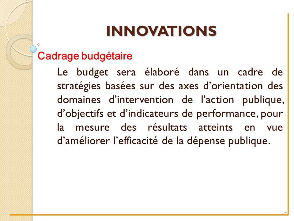INNOVATIONS Cadrage budgétaire