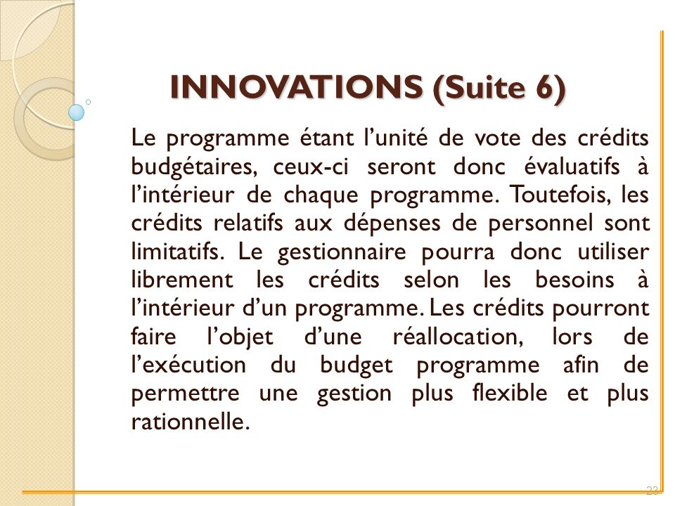 INNOVATIONS (Suite 6)