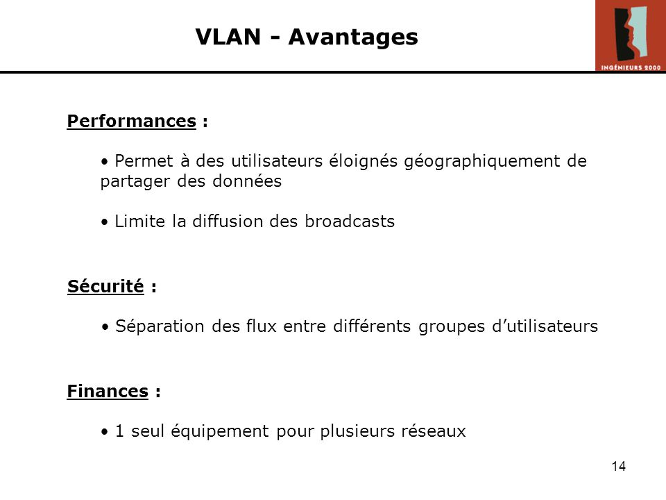 VLAN - Avantages Performances :