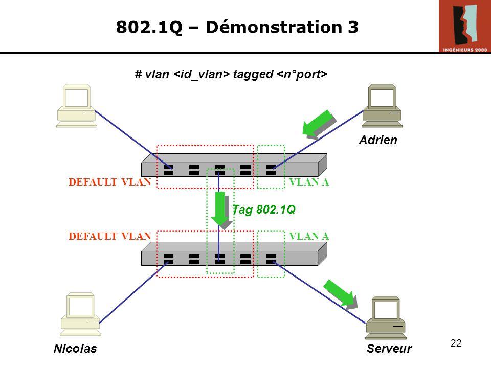 802.1Q – Démonstration 3 # vlan <id_vlan> tagged <n°port>