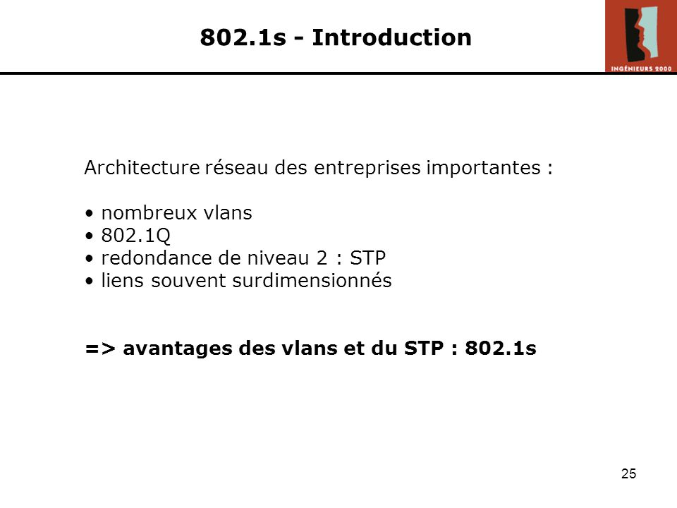 802.1s - Introduction Architecture réseau des entreprises importantes : nombreux vlans. 802.1Q. redondance de niveau 2 : STP.
