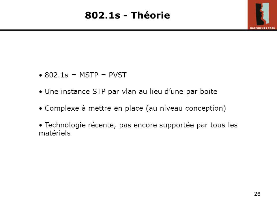 802.1s - Théorie 802.1s = MSTP = PVST