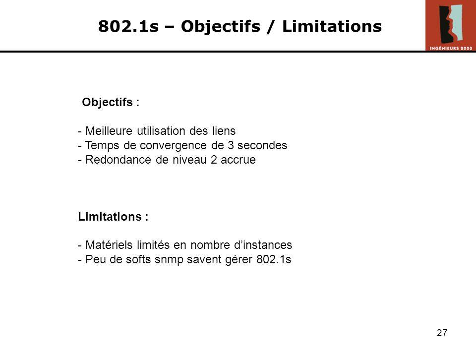 802.1s – Objectifs / Limitations
