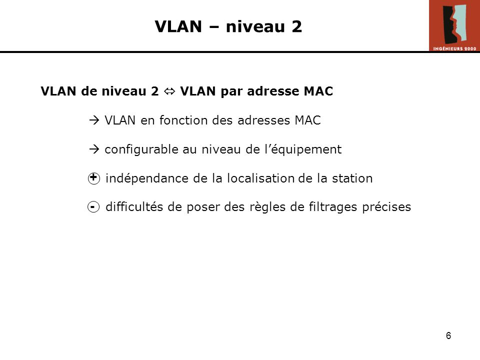 VLAN – niveau 2 + - VLAN de niveau 2  VLAN par adresse MAC
