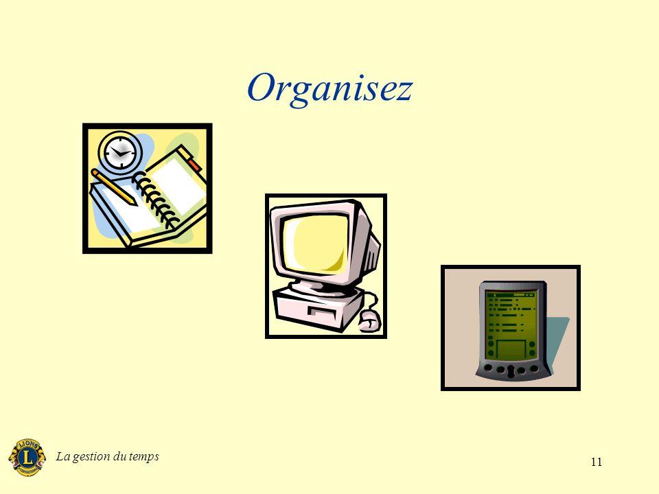 Organisez La gestion du temps