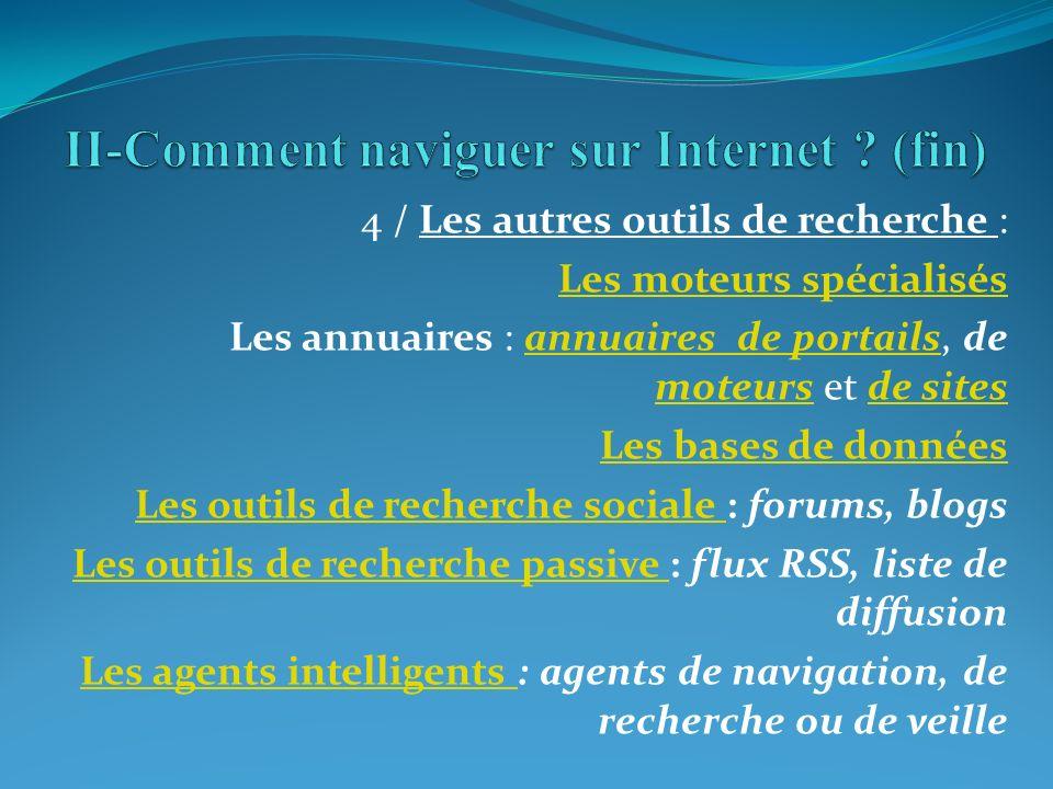 II-Comment naviguer sur Internet (fin)