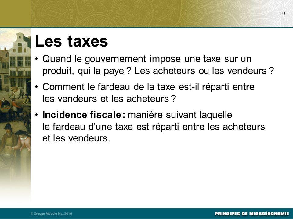 07/23/09 10. Les taxes. Quand le gouvernement impose une taxe sur un produit, qui la paye Les acheteurs ou les vendeurs