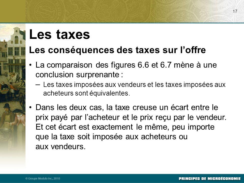 Les taxes Les conséquences des taxes sur l'offre