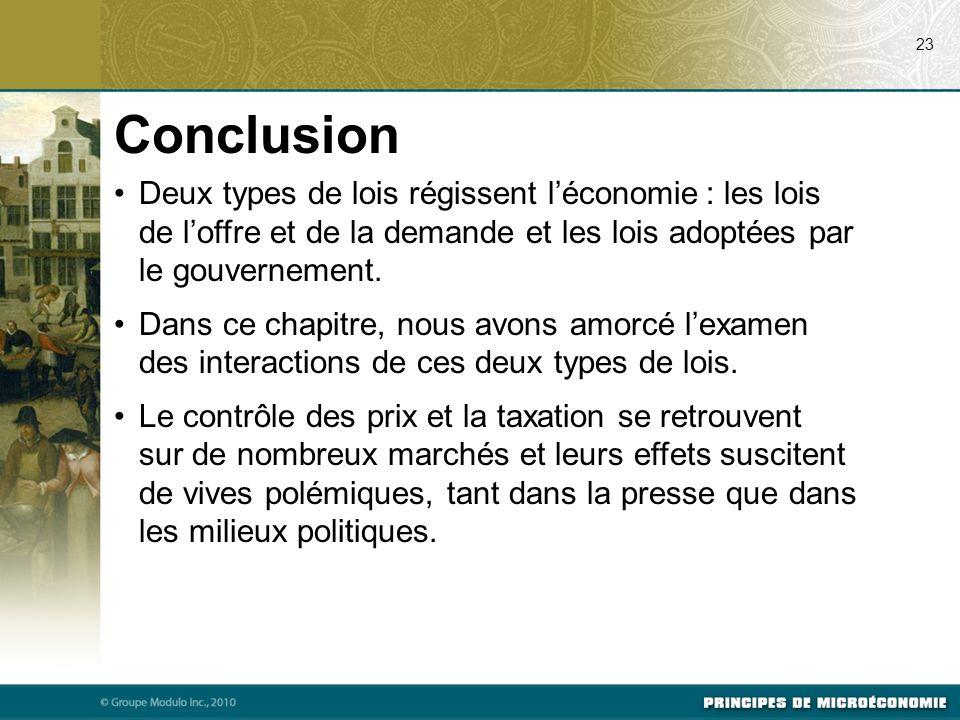 07/23/09 23. Conclusion. Deux types de lois régissent l'économie : les lois de l'offre et de la demande et les lois adoptées par le gouvernement.