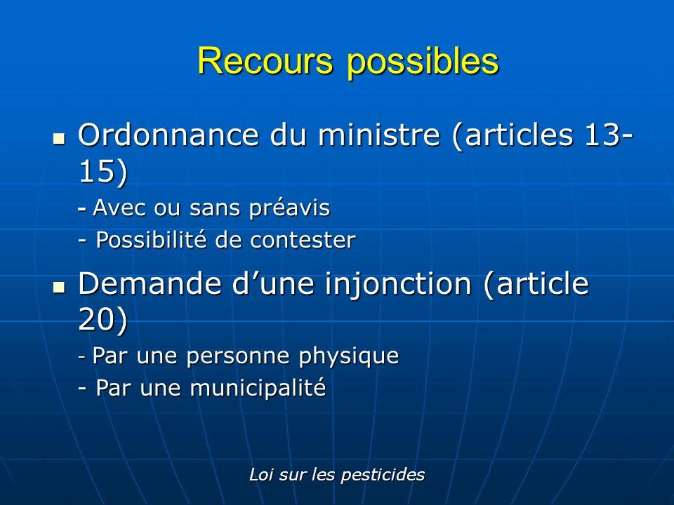 Recours possibles Ordonnance du ministre (articles 13-15)