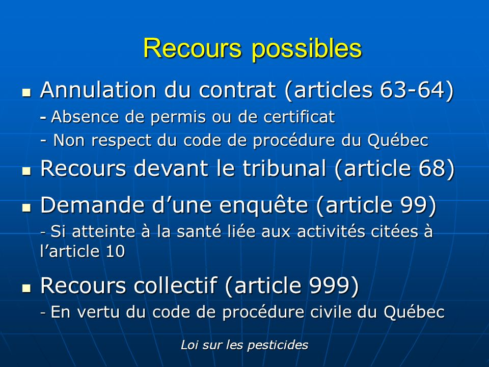 Recours possibles Annulation du contrat (articles 63-64)